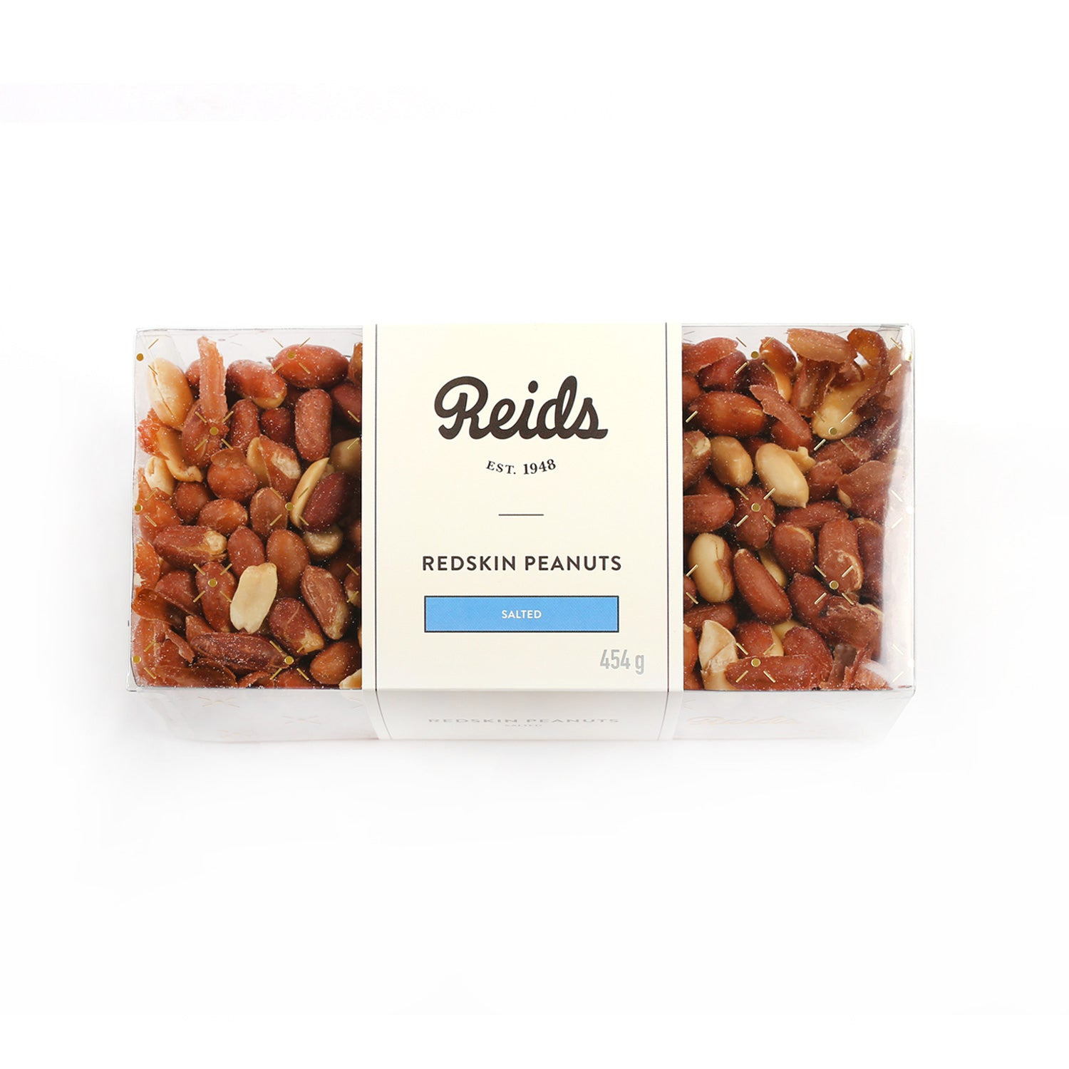 1/2 lb clear box of salted red skinned peanuts
