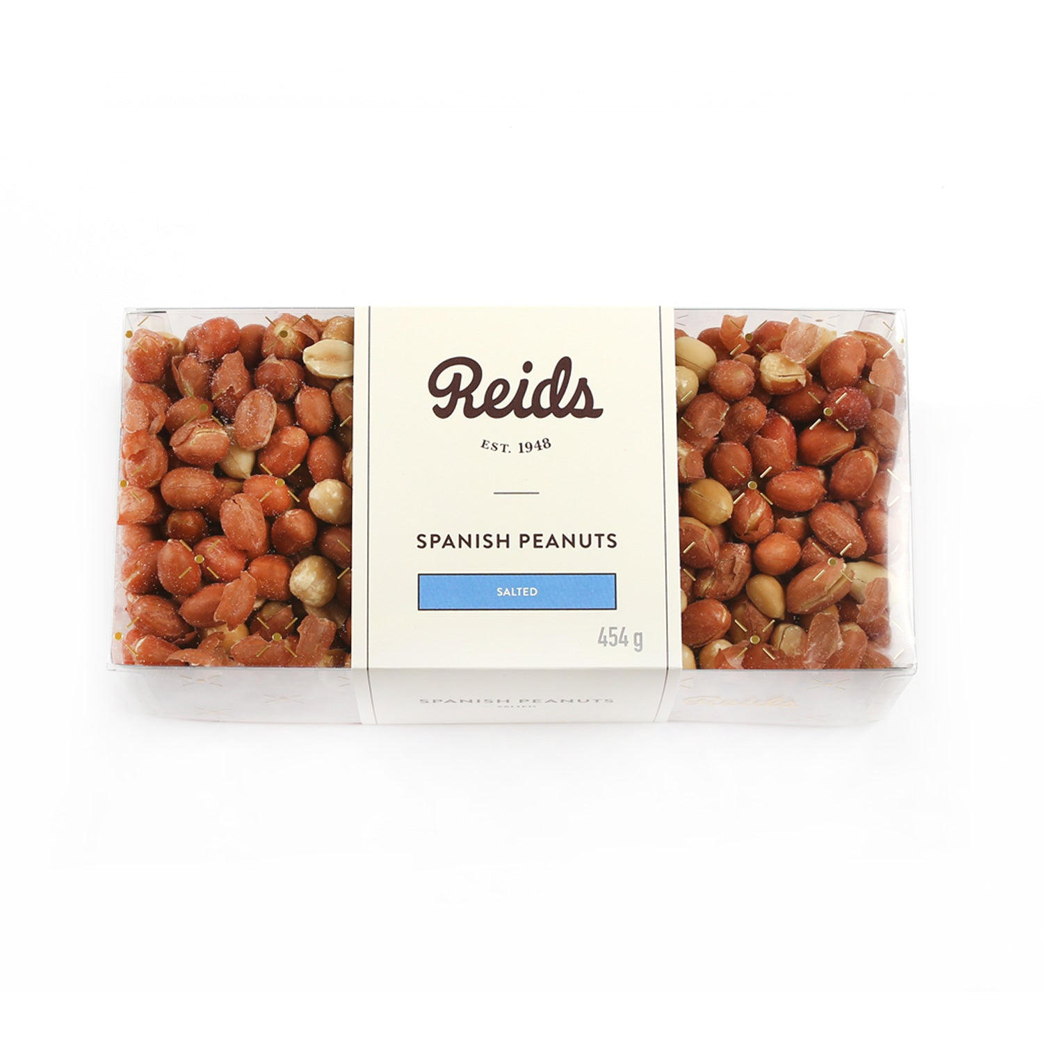 1 lb clear box of salted Spanish peanuts