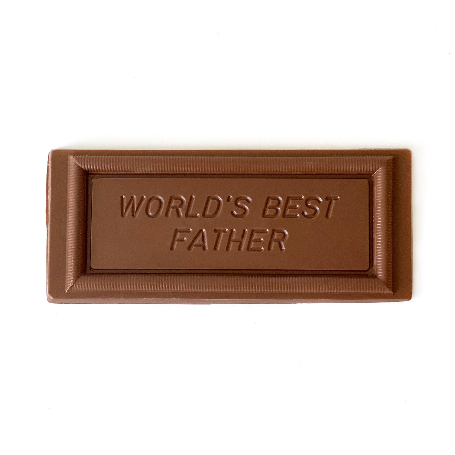 """A milk chocolate """"World's Best Father"""" card."""