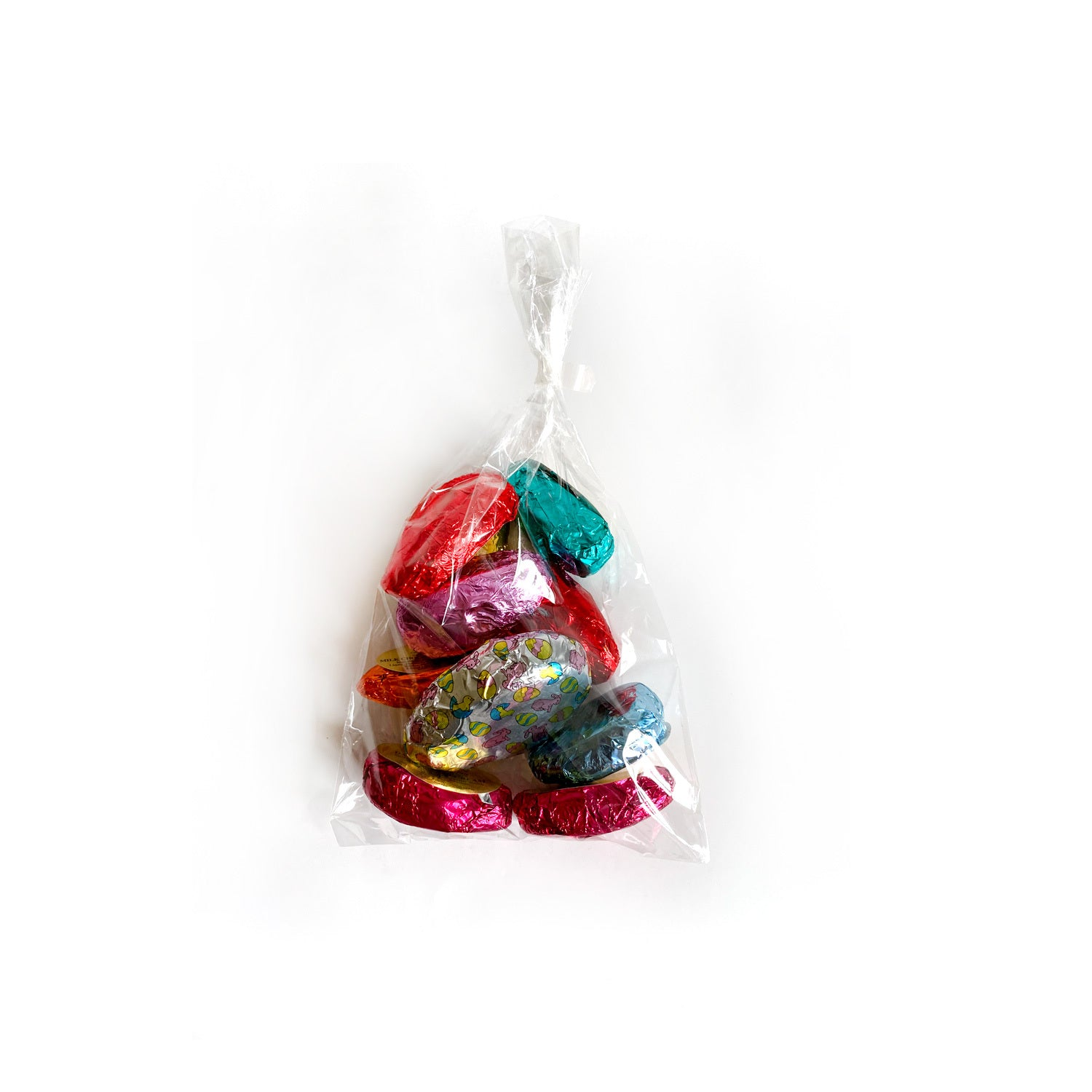 10 chocolate eggs with assorted fillings in a clear bag.