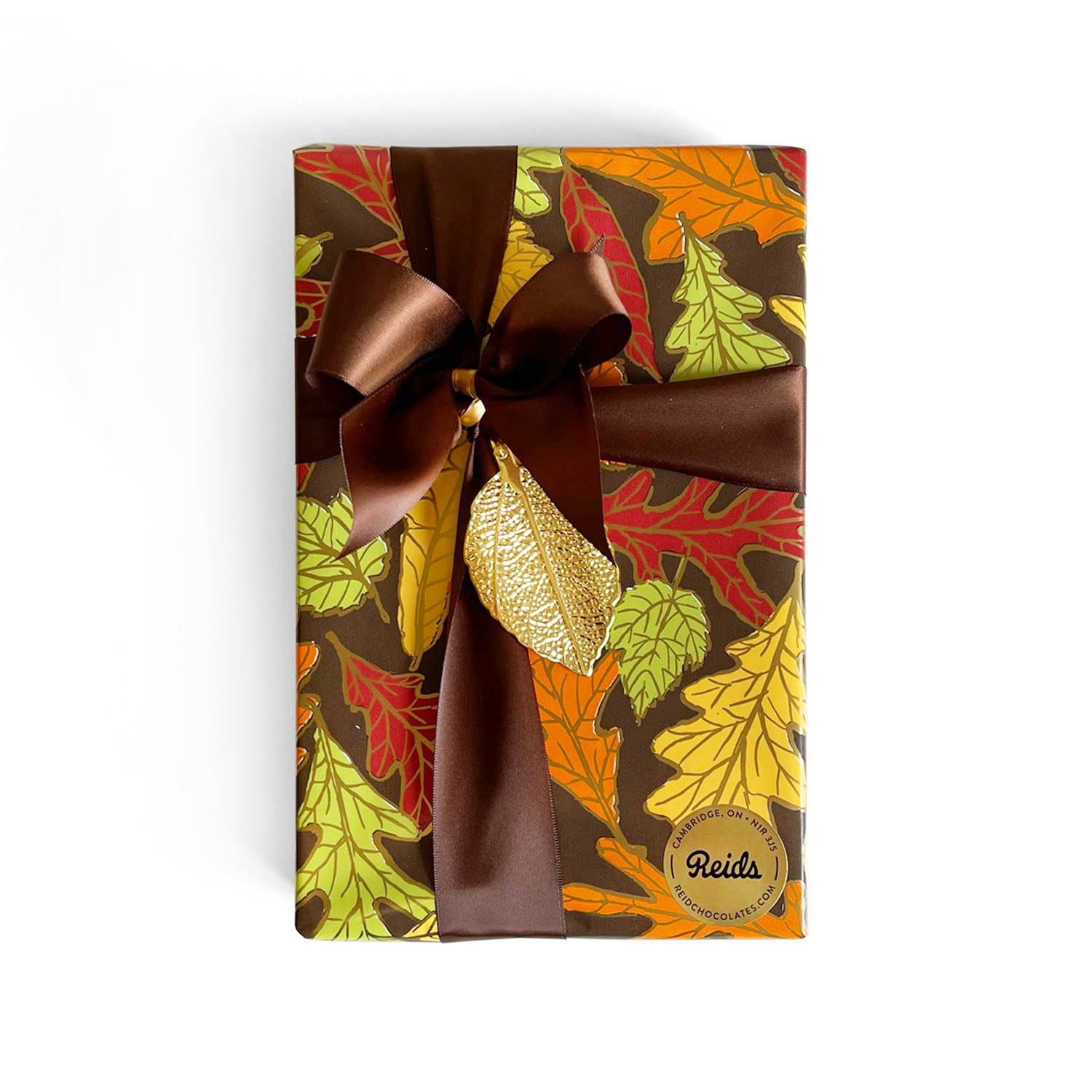 1 lb box of assorted chocolates wrapped for the fall season