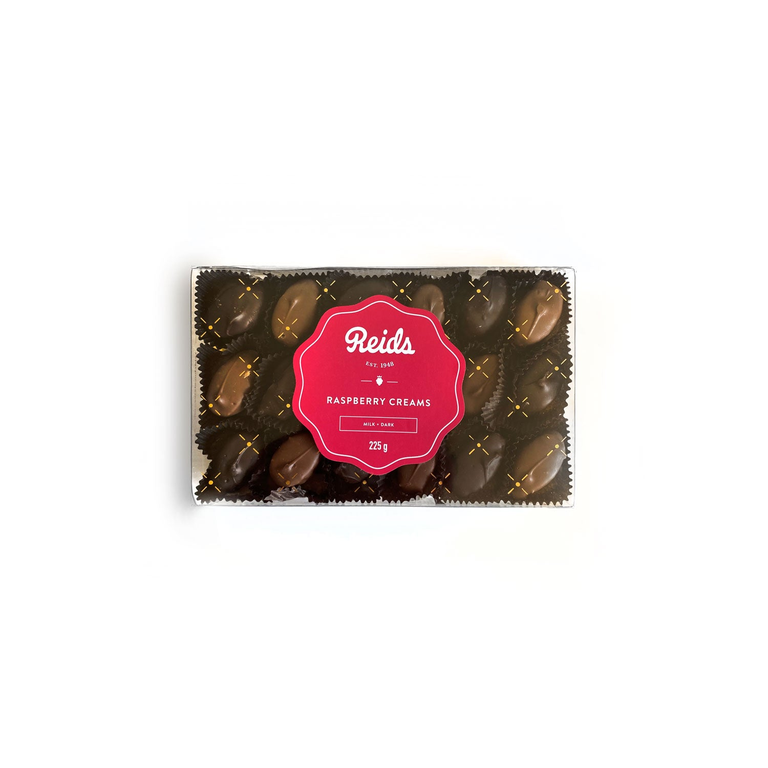 Raspberry cream filling coated in our milk and dark chocolate.