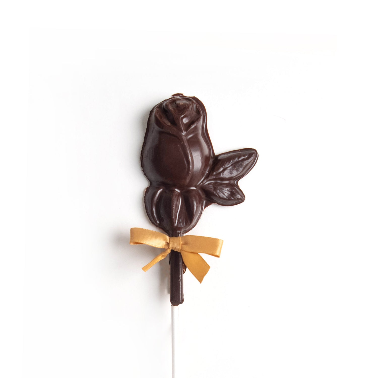 Product photo of dark chocolate rose on a stick