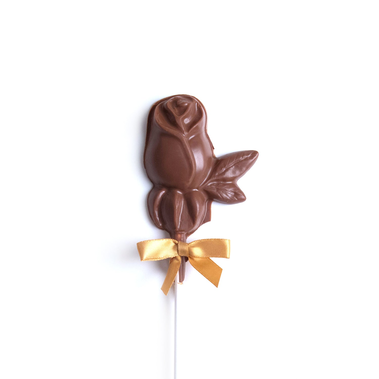 Product photo of milk chocolate rose on a stick