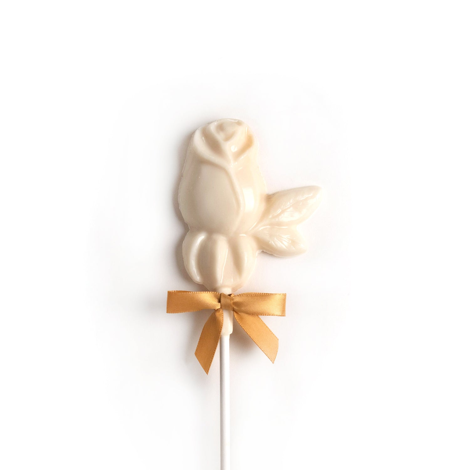 Product photo of white rose on a stick