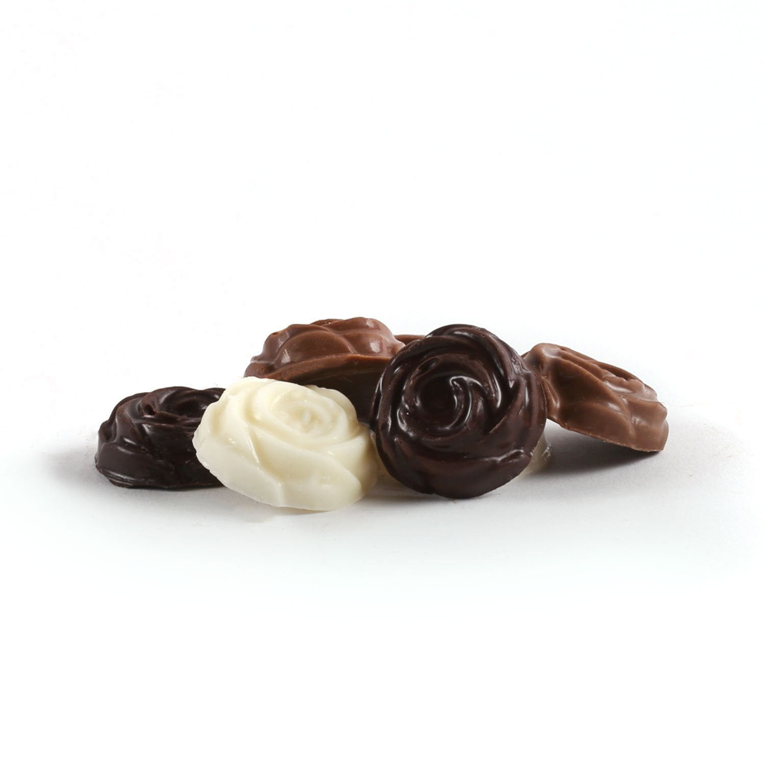 Product photo of assorted rosebuds. A dark, a milk and a white