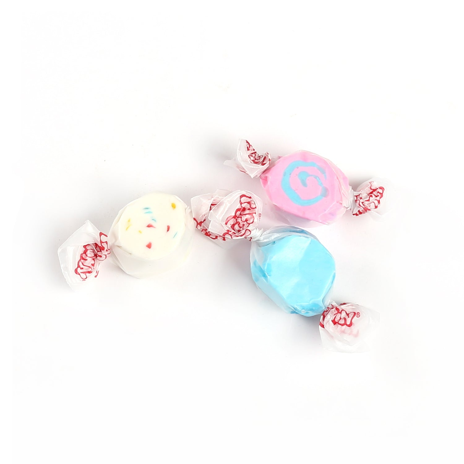 Product photo of saltwater taffy. An assortment of bright coloured taffy