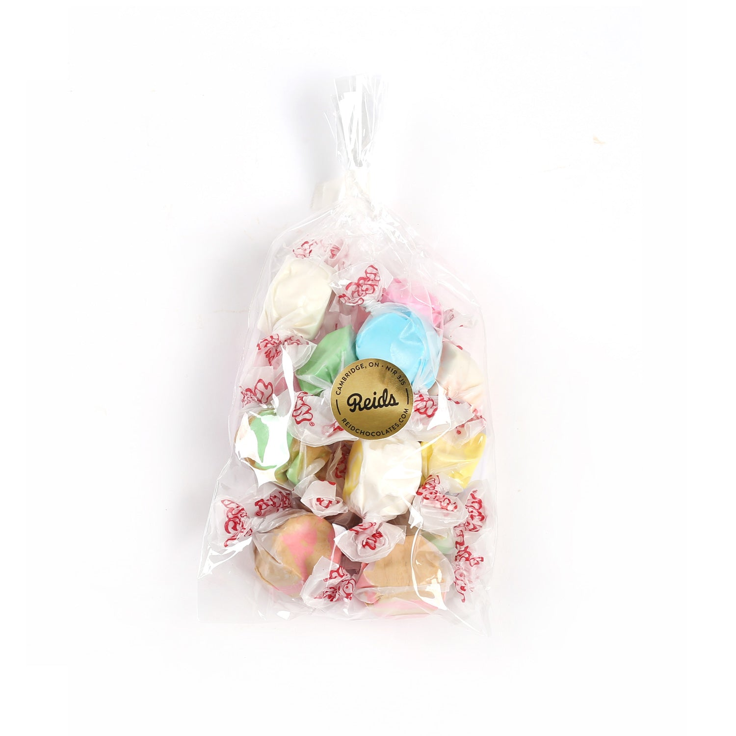 Clear bag of salt water taffy