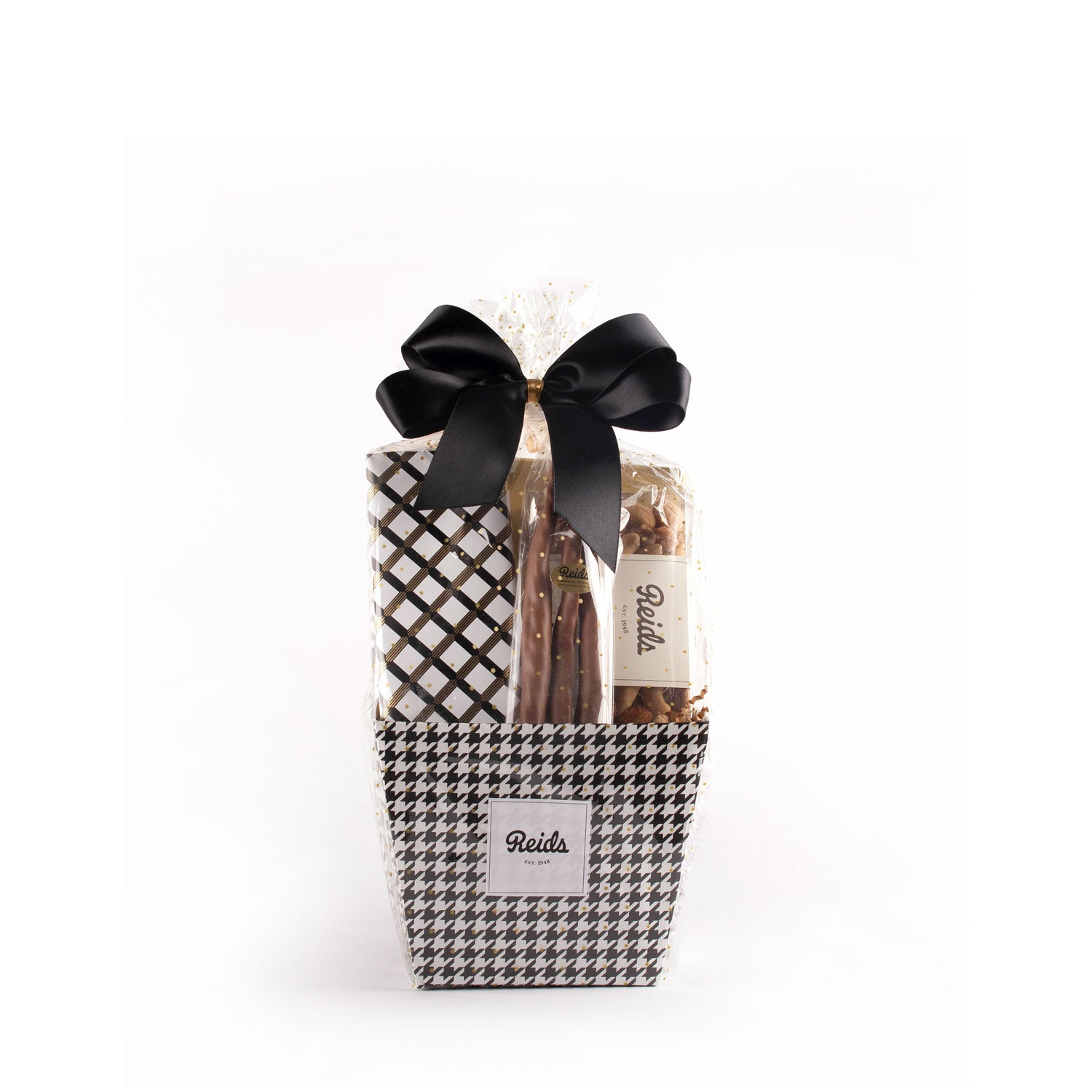 The small basket comes in a black and white houndstooth basket. Wrapped cellophane and tied with a black stain bow.