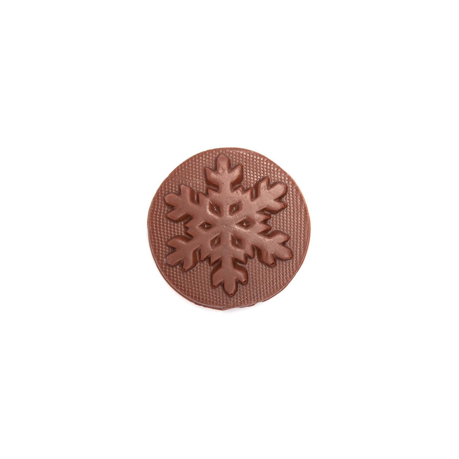 Product photo of milk chocolate snowflake mold. A round disk of chocolate with a snowflake.