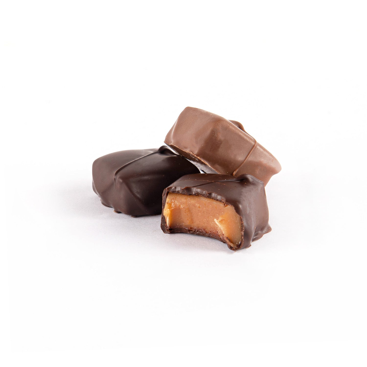 Product photo of milk and dark chocolate vanilla caramels.