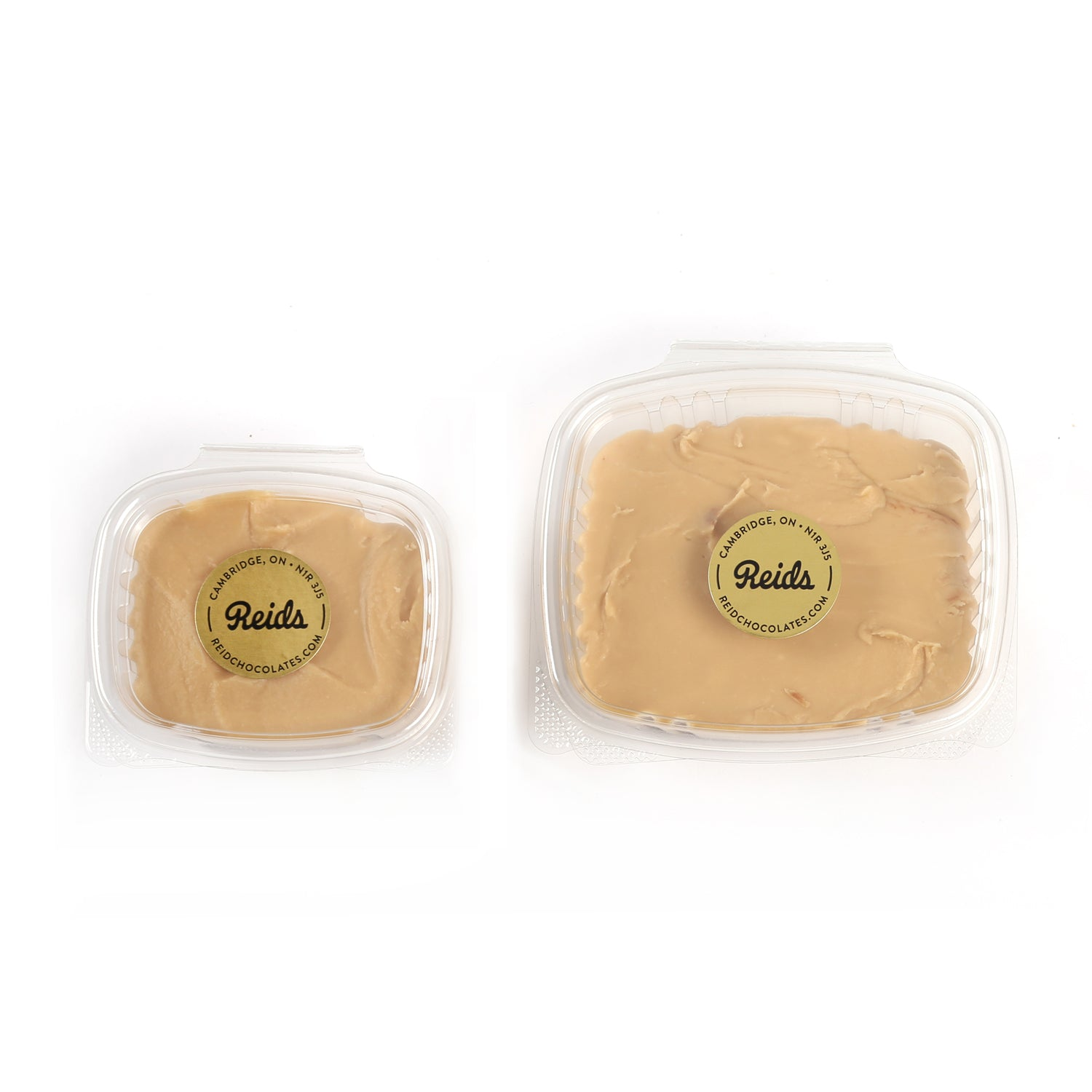And image of the two container sizes of maple fudge.