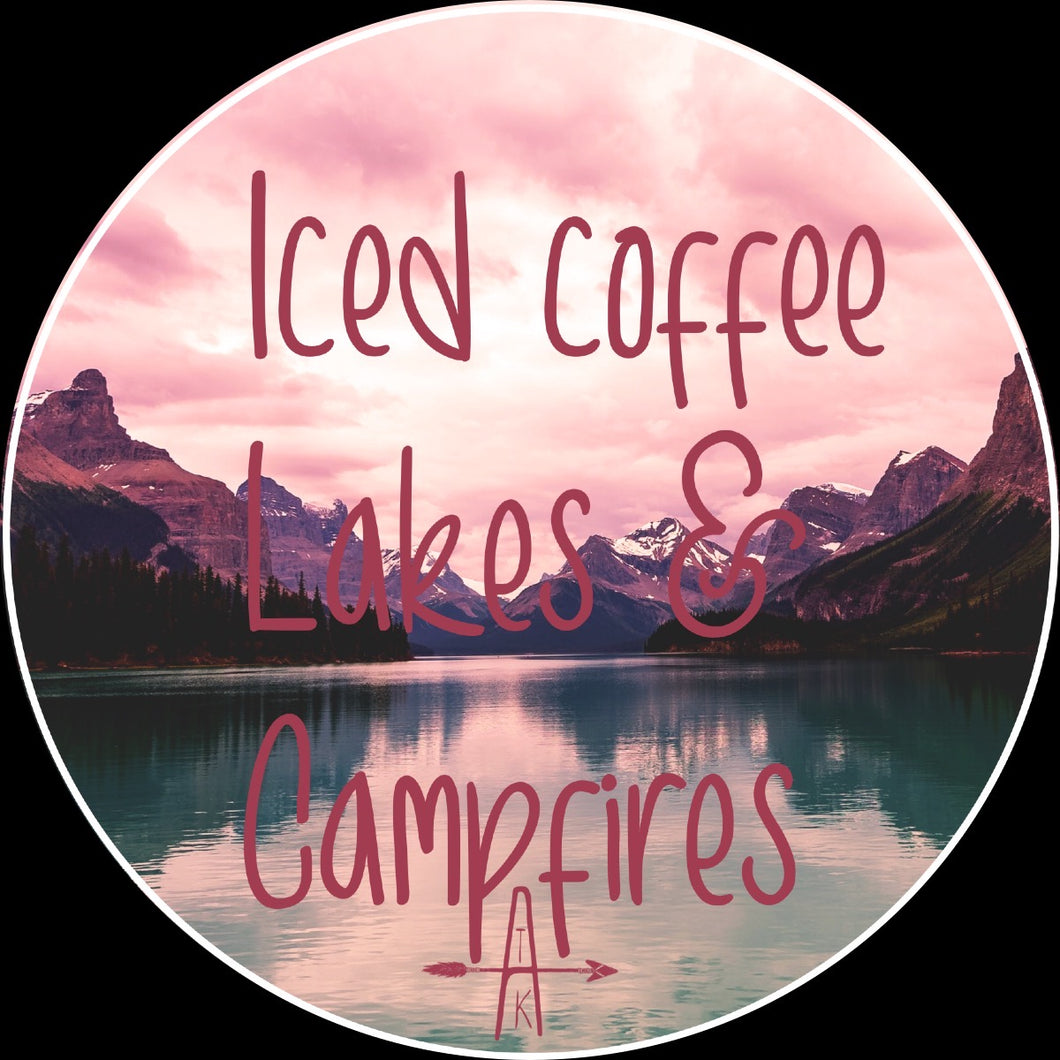 Iced Coffee, Lakes & Campfires sticker