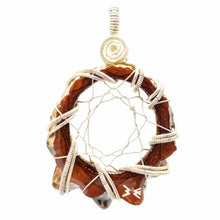 Load image into Gallery viewer, Silver wire wrapped  Knobcone Pinecone Dream Catcher pendant