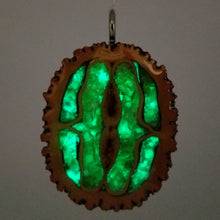 Load image into Gallery viewer, Large Black Walnut Glow pendant with Genuine Peridot Chip Inlay