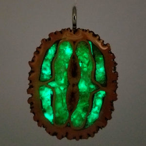 Large Black Walnut Glow pendant with Genuine Peridot Chip Inlay