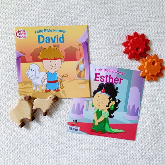 Little Bible Heroes: David + Esther (Flip Over Book)