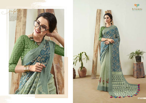 LILIMA 2020 BY TRIVENI LINEN PRINTED SAREES