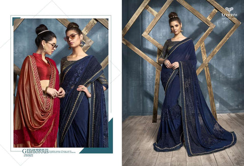 DEEWANGI VOL-5 BY TRIVENI NET EMBROIDERED SAREES