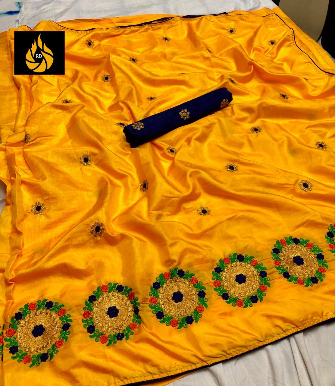 Yellow Sana Silk Embroidery Saree