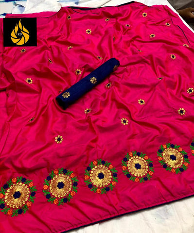 Pink Sana Silk Embroidery Saree