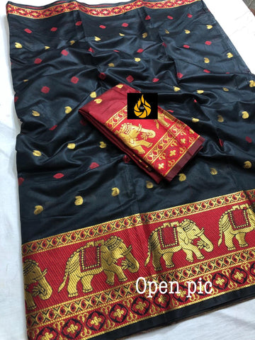 Black Cotton Silk Jecquard Saree