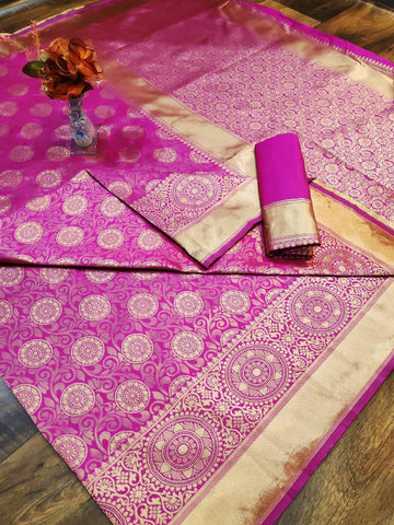 Pink Banarasi Weaving soft Silk Saree