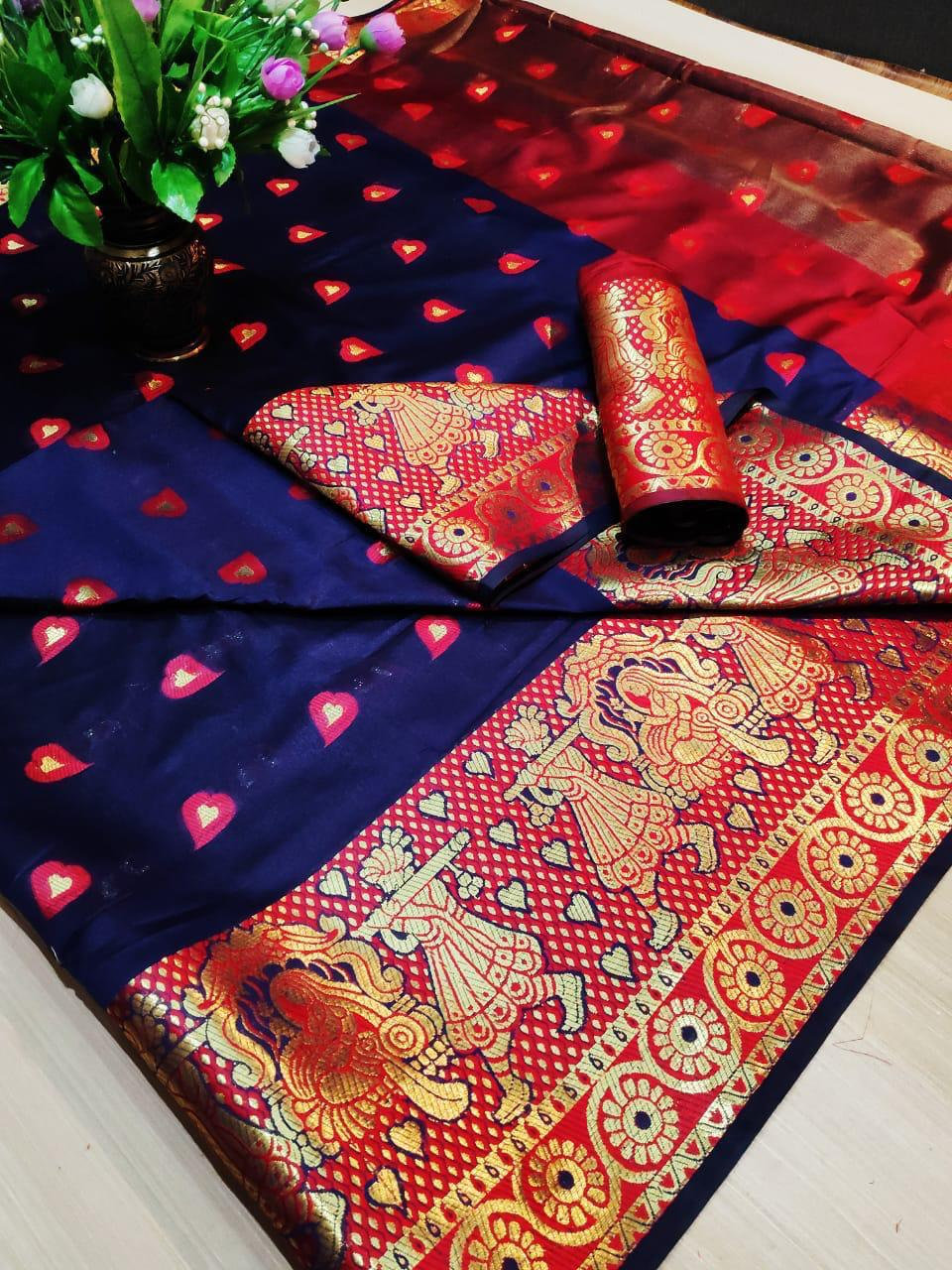 Navy Blue Pure Cotton Silk Saree