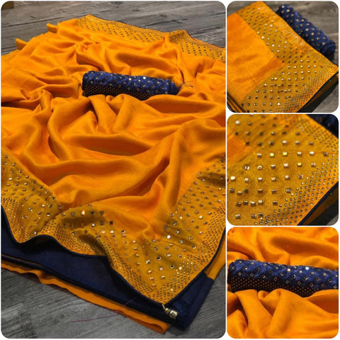Yellow Vichitra silk Saree