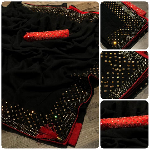 Black Vichitra silk Saree