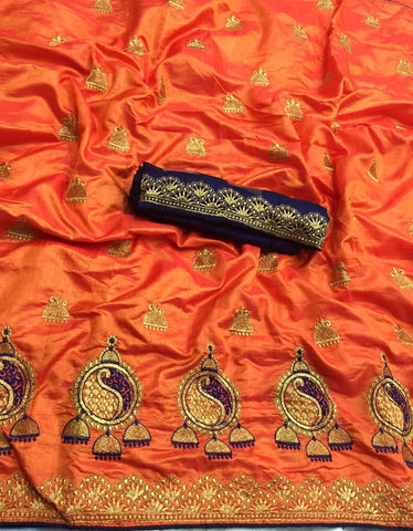 Orange Sana Silk Embroidery Saree
