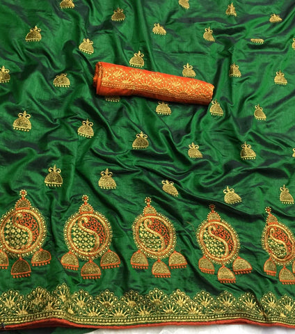 Green Sana Silk Embroidery Saree