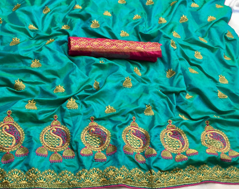 Sky BIue Sana Silk Embroidery Saree