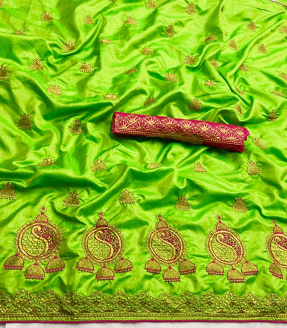 Pista Green Sana Silk Embroidery Saree