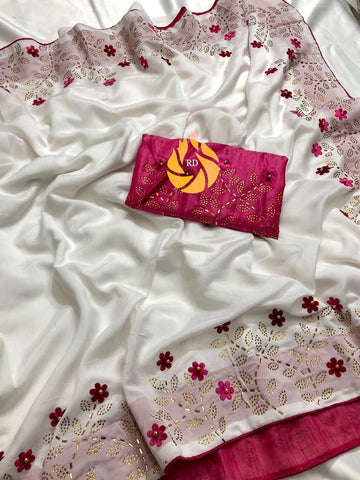 White Vichitra silk Diamond Work Saree