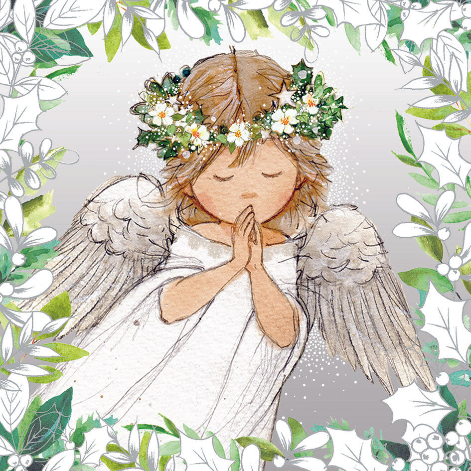 Silver Holly Angel cards