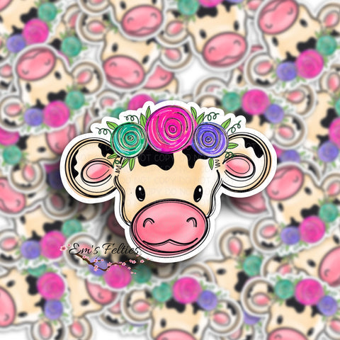 Floral Baby Cow Stickers