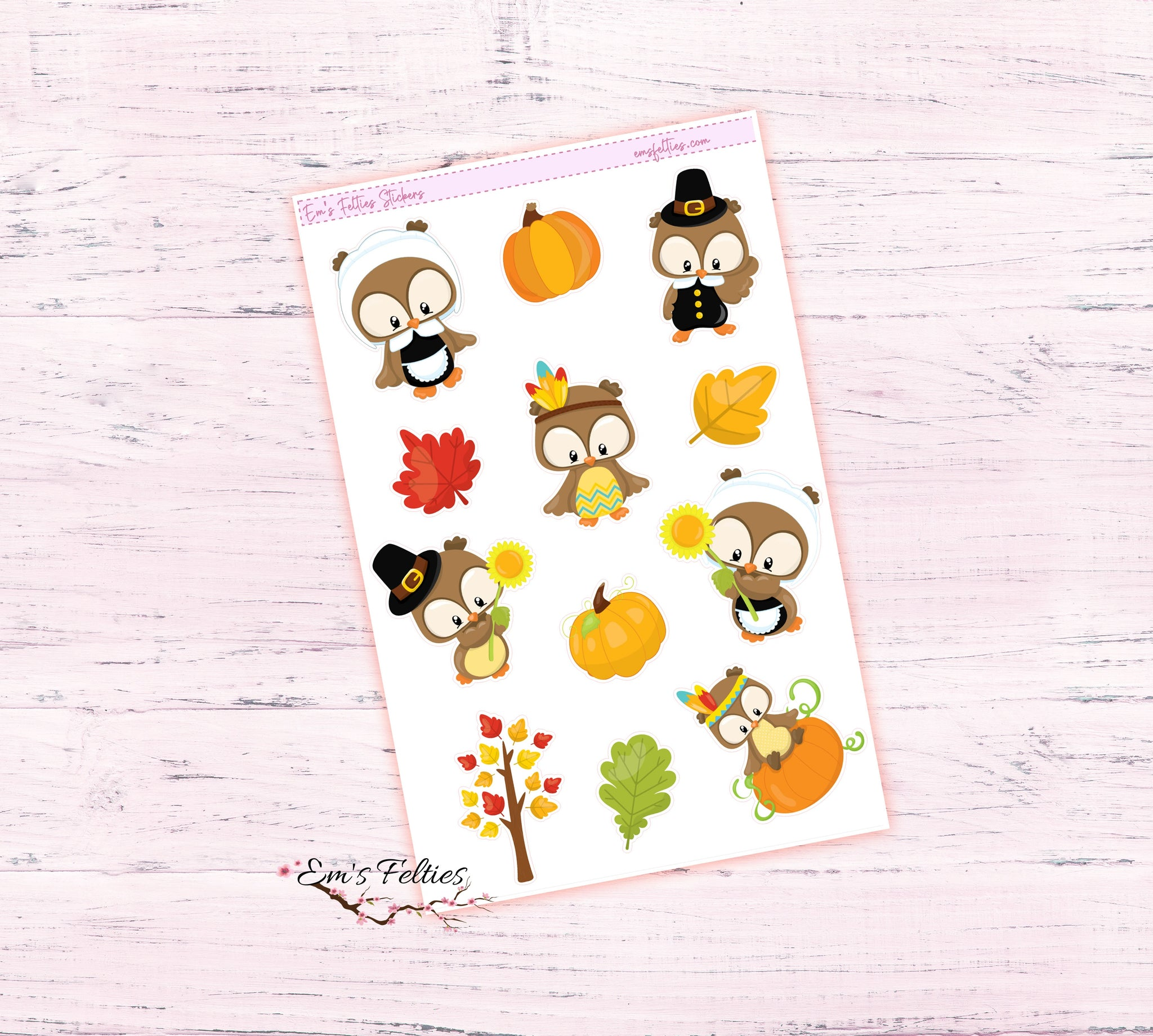 Thanksgiving Owl Stickers