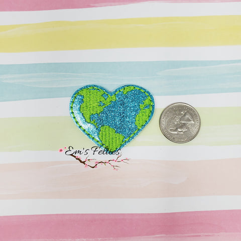 Glitter Earth Heart Feltie 1.87in