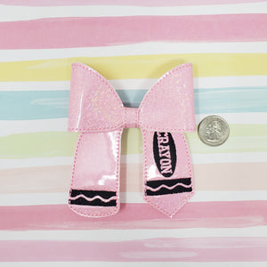 4in Pink Crayon Bow