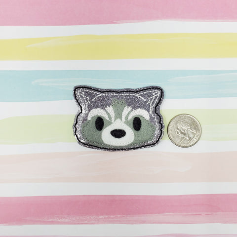 Glitter Rocky Raccoon Feltie 2.5in
