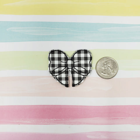 RTS Black and White Plaid Bow Feltie 1.75in