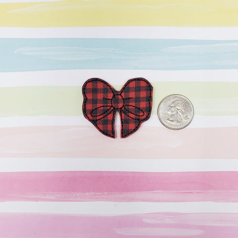 RTS Red and Black Plaid Bow Feltie 1.75in