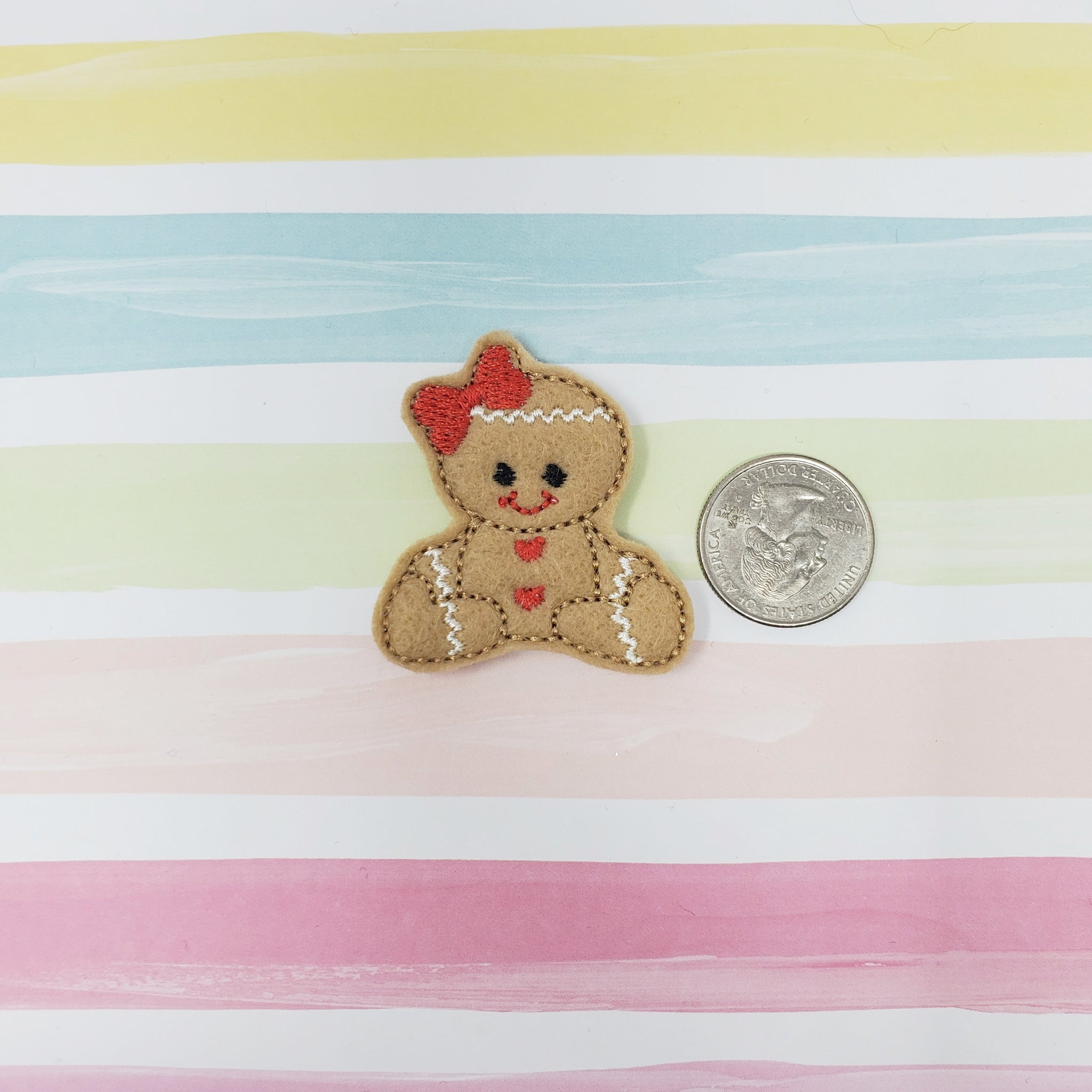 RTS Gingerbread Girl Cookie Feltie 1.75in