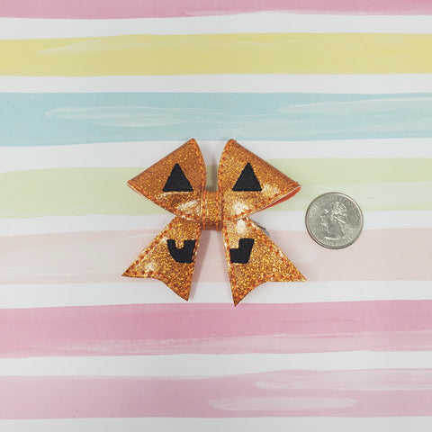 RTS 2.75in Glitter Pumpkin Bow