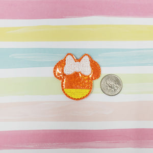 RTS Glitter Miss Mouse Candy Corn Feltie 2in