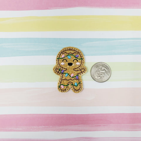 RTS Glitter Gingerbread with PASTEL Lights Feltie 2in