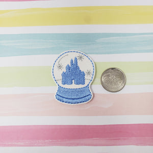RTS Glitter Blue Castle Snow Globe Feltie 2in
