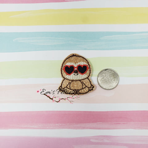 Glitter Sloth with Heart Glasses Feltie 1.75in