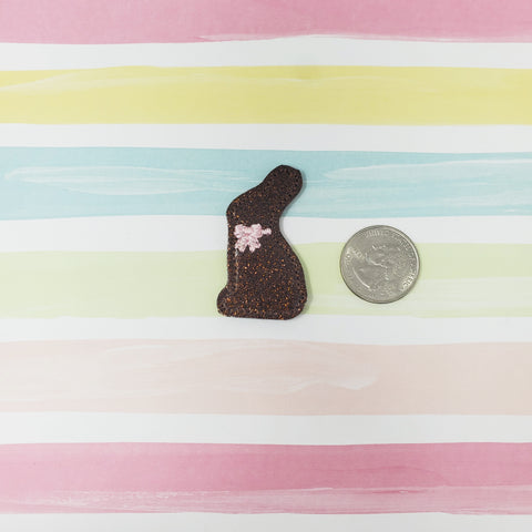Glitter Chocolate Bunny Pink Bow Feltie 1.75in